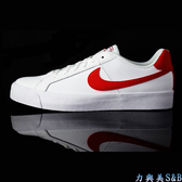 NIKE 男休閒運動鞋 經典百搭款  NIKE COURT ROYALE 正白色鞋面+正紅色LOGO  【7964】