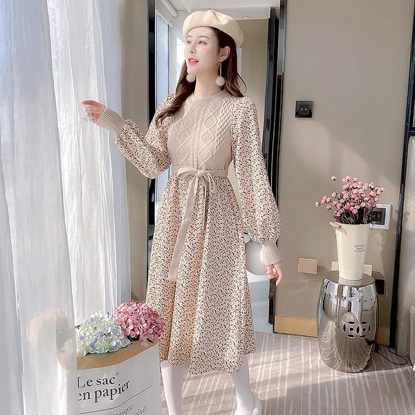 VK旗艦店 韓國風針織氣質顯瘦燈籠袖碎花裙長袖洋裝