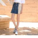 《CA1959-》高含棉造型口袋撞色拼接抽鬚牛仔裙 OB嚴選