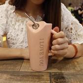 創意可愛簡約個性陶瓷喝水馬克杯大容量帶吸管勺男女辦公室家用杯夢想巴士