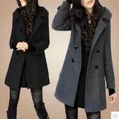 毛呢外套 冬款女中長款毛呢外套韓版大碼修身顯瘦雙排扣加厚呢子大衣 交換禮物