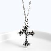 《 QBOX 》FASHION 飾品【CXL-3】精緻氣質復古皇冠十字架S925純銀項鍊/吊墜