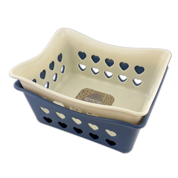 詰朵斯 心心收納籃2號(長方形) 可堆疊收納盒 零件藍 置物籃 小物籃 桌面收納 桌上籃子 文具收納