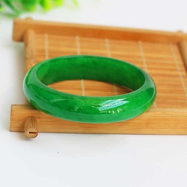 玉手環 玉手鐲 翡翠A貨干青手鐲 緬甸翡翠手鐲 翡翠滿綠色干青窄條手鐲