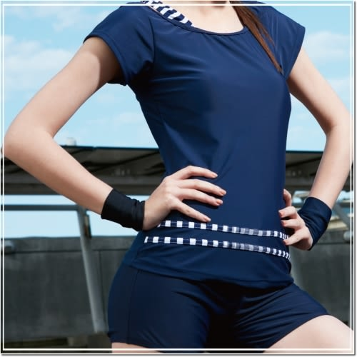 ☆小薇的店☆台灣製沙麗品牌新款【素雅顯瘦款式】時尚二件式短袖泳裝特價790元NO.5110(M-XL)