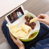 懶人果盤磕瓜子神器雙層創意多功能追劇零食果皮收納盒家用手機架