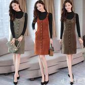 中大尺碼套裝 打底衫針織兩件式裝女秋冬季單排扣背帶毛呢子背心洋裝加厚 js11899『小美日記』