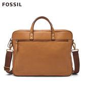 FOSSIL Haskell 15吋筆電 駝色真皮商旅公事包MBG9424231