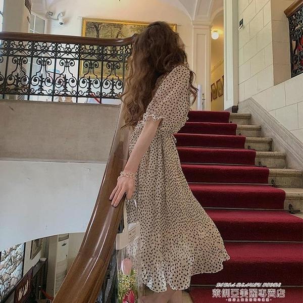 雪紡洋裝 小野智恩碎花雪紡連身裙女2021夏短袖V領荷葉邊中長款大裙擺裙子 新品