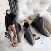 丁果、大尺碼女鞋34-43►英倫風明星款尖頭中跟切爾西短靴子*3色