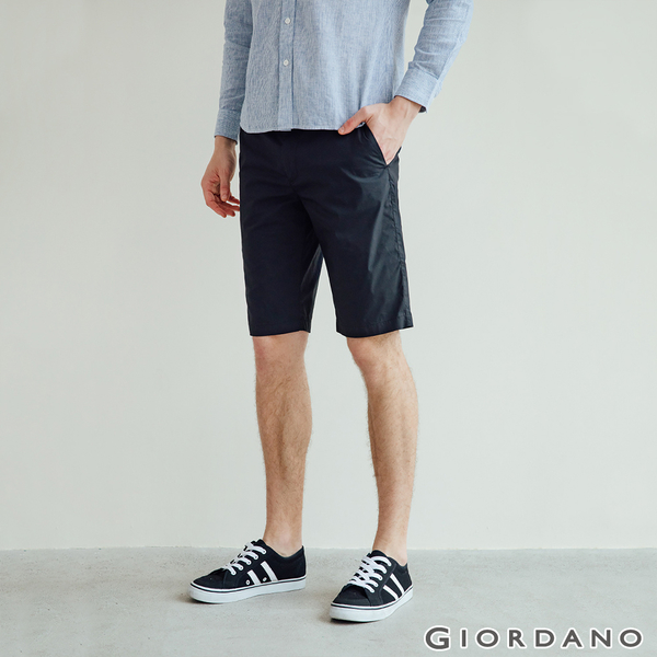 【GIORDANO】男裝彈力速乾短褲 - 09 標誌黑