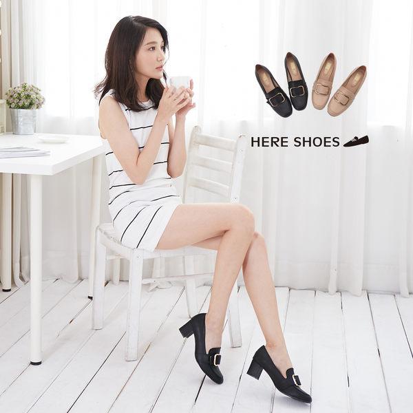 [Here Shoes]樂福鞋-MIT台灣製金屬方扣皮革5CM中粗跟小方頭包鞋紳士鞋─KW5201
