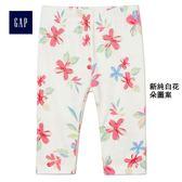 Gap女嬰兒 柔軟毛圈布印花鬆緊腰內搭褲 319515-新純白花朵圖案
