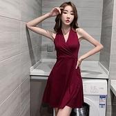 赫本風V領無袖洋裝女夏季收腰顯瘦女神范氣質性感高腰A字背心裙 「雙10特惠」