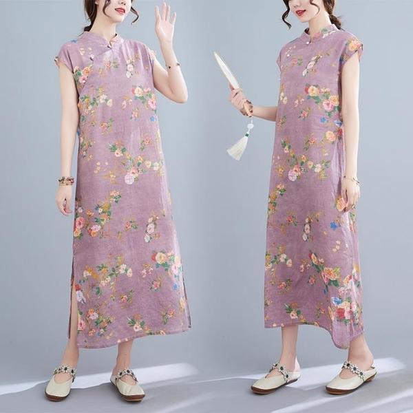 中大尺碼 無袖洋裝 復古印花立領盤扣連身裙大碼女寬鬆遮肚顯瘦減齡下擺開衩無袖裙子