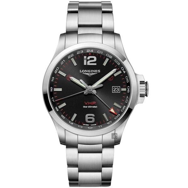 LONGINES 浪琴 征服者系列V.H.P. GMT 萬年曆手錶-黑x銀/43mm L37284566