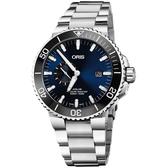 Oris豪利時 Aquis 小秒針500米專業潛水機械錶-藍x銀/45.5mm 0174377334135-0782405PEB