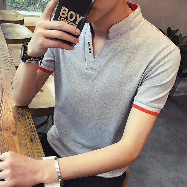 男士短袖T恤夏季立領修身有帶領半袖丅桖上衣服POLO衫男裝ins 印象家品