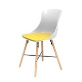 (組)特力屋萊特塑鋼椅-櫸木腳架30mm+白椅背+黃座墊