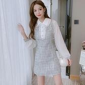 洋裝連身裙甜美S-2XL新款小香風娃娃領長袖網紅風裙子T613-1077.胖胖唯依