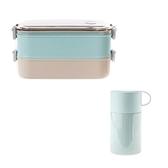 (組)伊麗絲悶燒罐550ml(綠)+JH可提式雙層304便當盒 藍