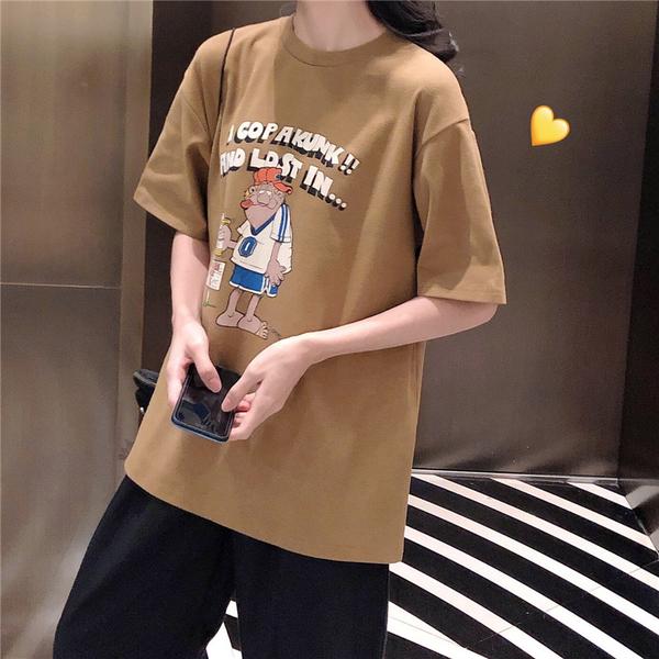 EASON SHOP(GW6598)實拍撞色字母卡通印花長版OVERSIZE短袖T恤裙連身裙女上衣服內搭衫寬鬆素色棉T