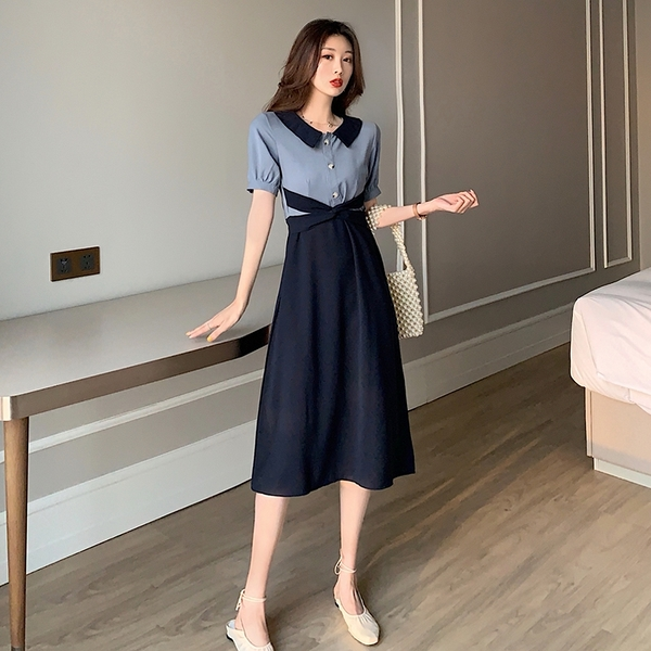 VK旗艦店 韓國風復古夏季收腰撞色翻領小眾氣質短袖洋裝