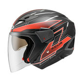 【ZEUS 瑞獅 ZS-611E TT18 安全帽 消光黑紅 3/4罩】內藏遮陽鏡片 、免運費
