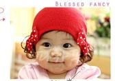超夯 韓版可愛蝴蝶結針織帽 附假髮 童帽 造型帽 日月星媽咪寶貝館