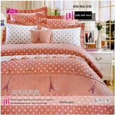 雙人床罩全套(5*6.2尺) /高級精梳棉五件式 /御芙專櫃『點亮巴黎』粉☆╮