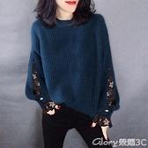 假兩件針織上衣 假兩件毛衣女2021秋冬新款寬鬆圓領套頭打底衫上衣時尚百搭針織衫 榮耀