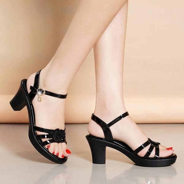 低跟鞋 真皮足意爾康斷碼清倉涼鞋女中跟2021新款夏季粗跟百搭時裝高跟鞋
