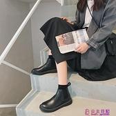 黑色切爾西短靴女復古英倫風韓版春季新款粗跟chic網美馬丁靴超級品牌【公主日記】