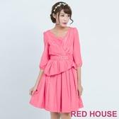 【RED HOUSE 蕾赫斯】素面V領打摺洋裝(共兩色)  滿1111折211