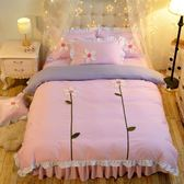床单/被套 韓式全棉花朵款荷花床裙式公主風四件套純棉1.5/1.8m