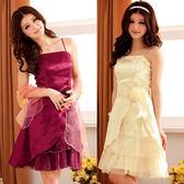 中大尺碼~甜心公主宮廷盛宴多層荷葉擺吊帶禮服連衣裙(XL~3XL)