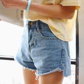 高腰毛邊前短後長不規則修身顯瘦牛仔短褲女熱褲  東川崎町