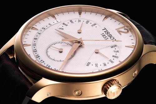 Tissot Tradition 萬年曆時尚腕錶T0636373603700玫瑰金色