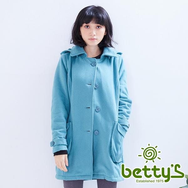 betty's貝蒂思 復古鈕扣連帽大衣(綠色)