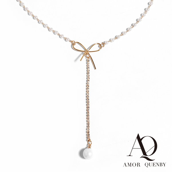 AQ 優雅氣質珍珠蝴蝶結頸鍊/項鍊(AMOR Quenby)