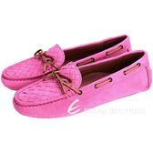 BOTTEGA VENETA  麂皮編織綁帶莫卡辛鞋(亮桃色) 1510380-41