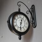 復古鐵藝鐘靜音歐式雙面鐘美式鄉村田園客廳掛鐘工藝時鐘兩面掛表 小山好物