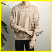 小清新短袖T恤男士2019春夏季款寬鬆7分袖體恤韓版潮流條紋七分袖