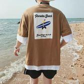 夏季新款短袖t恤男士大碼七分袖假兩件中袖寬鬆上衣服半袖潮   麥吉良品