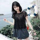 比基尼泳裝-日本品牌AngelLuna 日本直送 黑色點點OnePeice連身裙兩件式溫泉沙灘泳衣