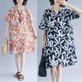 碎花洋裝200斤微胖mm夏裝寬松女裝大碼短袖棉麻連衣裙  ys2005『時尚玩家』