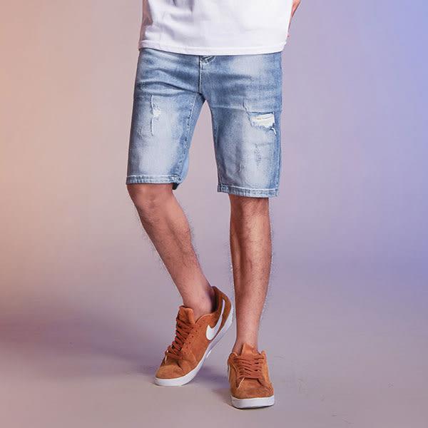 淺色破壞牛仔短褲【FHW-5001】(ROVOLETA)