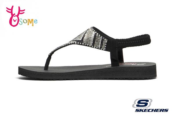 Skechers MEDITATION GYPSY GLAM 成人女款 涼鞋 Q彈觸感 圖驣水鑽 夾腳拖 人字拖 R8250#黑色◆OSOME奧森鞋業