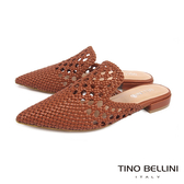 Tino Bellini渡假氛圍編織鏤空穆勒鞋_棕  FS9004