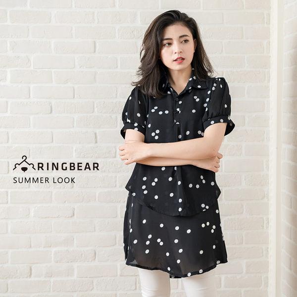 大尺碼OL襯衫--修腰顯瘦氣質圓點印花公主袖假兩件襯衫(黑XL-5L)-H92眼圈熊中大尺碼